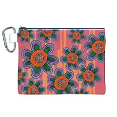 Colorful Floral Dream Canvas Cosmetic Bag (xl) by DanaeStudio