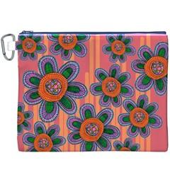 Colorful Floral Dream Canvas Cosmetic Bag (xxxl) by DanaeStudio