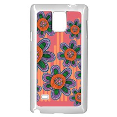 Colorful Floral Dream Samsung Galaxy Note 4 Case (white) by DanaeStudio