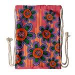 Colorful Floral Dream Drawstring Bag (Large)