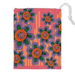 Colorful Floral Dream Drawstring Pouches (xxl) by DanaeStudio