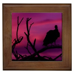 Vultures At Top Of Tree Silhouette Illustration Framed Tiles by dflcprints