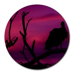Vultures At Top Of Tree Silhouette Illustration Round Mousepads by dflcprints
