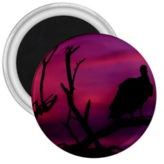 Vultures At Top Of Tree Silhouette Illustration 3  Magnets by dflcprints