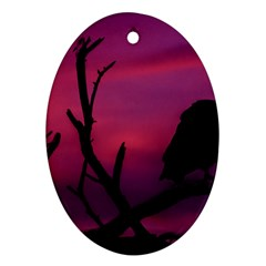 Vultures At Top Of Tree Silhouette Illustration Ornament (oval)  by dflcprints