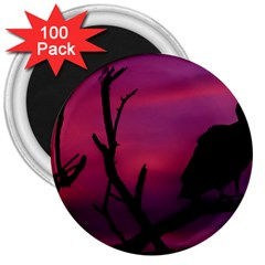 Vultures At Top Of Tree Silhouette Illustration 3  Magnets (100 Pack) by dflcprints