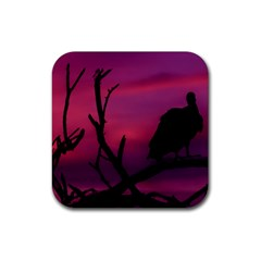 Vultures At Top Of Tree Silhouette Illustration Rubber Square Coaster (4 Pack)  by dflcprints
