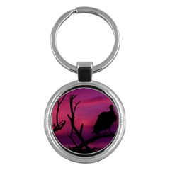 Vultures At Top Of Tree Silhouette Illustration Key Chains (round)  by dflcprints