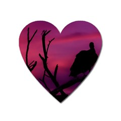 Vultures At Top Of Tree Silhouette Illustration Heart Magnet by dflcprints