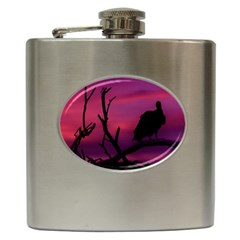 Vultures At Top Of Tree Silhouette Illustration Hip Flask (6 Oz) by dflcprints