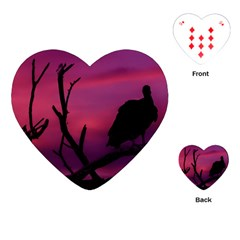 Vultures At Top Of Tree Silhouette Illustration Playing Cards (heart)  by dflcprints
