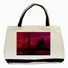 Vultures At Top Of Tree Silhouette Illustration Basic Tote Bag by dflcprints
