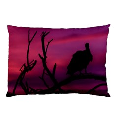 Vultures At Top Of Tree Silhouette Illustration Pillow Case by dflcprints