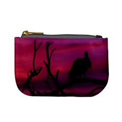 Vultures At Top Of Tree Silhouette Illustration Mini Coin Purses by dflcprints