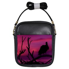 Vultures At Top Of Tree Silhouette Illustration Girls Sling Bags by dflcprints