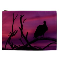 Vultures At Top Of Tree Silhouette Illustration Cosmetic Bag (xxl)  by dflcprints