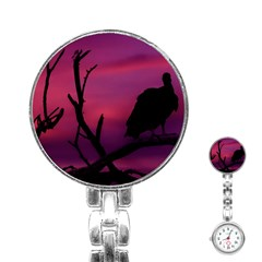 Vultures At Top Of Tree Silhouette Illustration Stainless Steel Nurses Watch by dflcprints