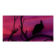 Vultures At Top Of Tree Silhouette Illustration Satin Shawl by dflcprints