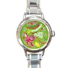 Green Organic Abstract Round Italian Charm Watch by DanaeStudio