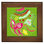 Green Organic Abstract Framed Tiles