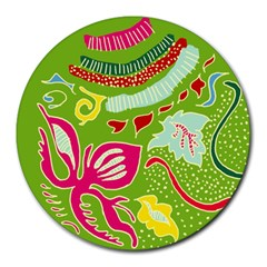 Green Organic Abstract Round Mousepads by DanaeStudio