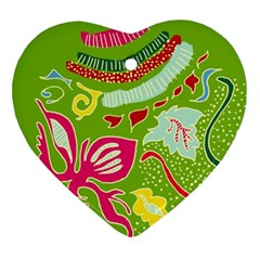 Green Organic Abstract Ornament (heart)  by DanaeStudio