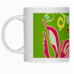 Green Organic Abstract White Mugs