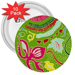 Green Organic Abstract 3  Buttons (10 Pack)  by DanaeStudio