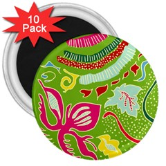 Green Organic Abstract 3  Magnets (10 Pack)  by DanaeStudio