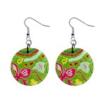 Green Organic Abstract Mini Button Earrings
