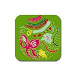 Green Organic Abstract Rubber Coaster (Square)
