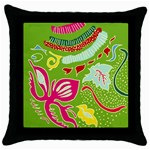 Green Organic Abstract Throw Pillow Case (Black)