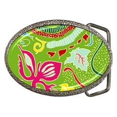 Green Organic Abstract Belt Buckles by DanaeStudio