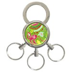 Green Organic Abstract 3-Ring Key Chains