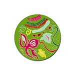 Green Organic Abstract Rubber Round Coaster (4 pack)