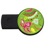 Green Organic Abstract USB Flash Drive Round (2 GB)