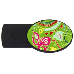Green Organic Abstract Usb Flash Drive Oval (2 Gb)  by DanaeStudio