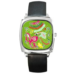 Green Organic Abstract Square Metal Watch by DanaeStudio