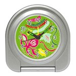 Green Organic Abstract Travel Alarm Clocks