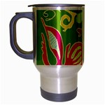 Green Organic Abstract Travel Mug (Silver Gray)