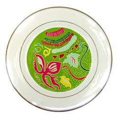 Green Organic Abstract Porcelain Plates by DanaeStudio