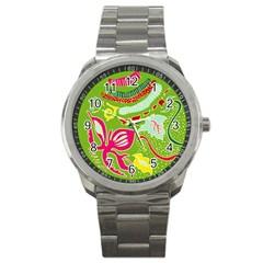 Green Organic Abstract Sport Metal Watch by DanaeStudio