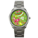 Green Organic Abstract Sport Metal Watch