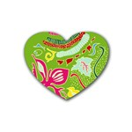 Green Organic Abstract Rubber Coaster (Heart)