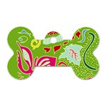 Green Organic Abstract Dog Tag Bone (One Side)