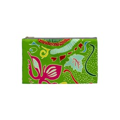 Green Organic Abstract Cosmetic Bag (small)  by DanaeStudio