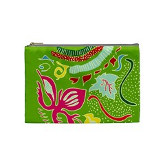 Green Organic Abstract Cosmetic Bag (medium)  by DanaeStudio