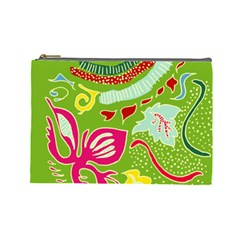 Green Organic Abstract Cosmetic Bag (large)  by DanaeStudio