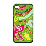 Green Organic Abstract Apple iPhone 4 Case (Black)