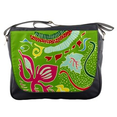 Green Organic Abstract Messenger Bags by DanaeStudio